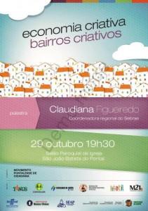 Convite para a palestra Economia Criativa, Bairros Criativos