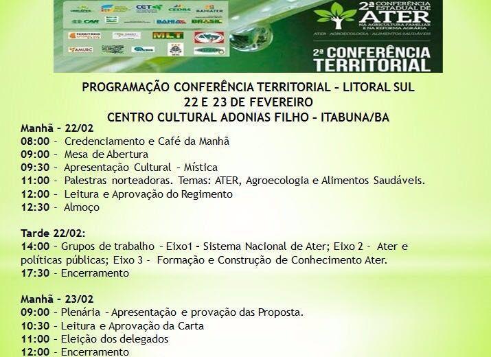 ATER Programação Conferência Territorial